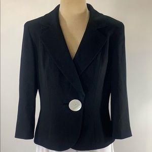 Etcetera black one large button blazer size 10